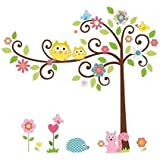 """RRRLJL The Colorful Owl Scroll Squirrel Tree Peel and Stick Vinyl Removable Decorative Wall Stickers Decor Decal for Nursery Baby and Kids Room (43""""×47"""")"""