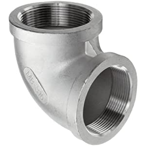 Stainless Steel 316 Cast Pipe Fitting, 90 Degree Elbow, MSS SP-114, 1