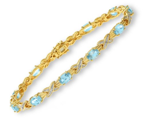 Ladies' Diamond and Blue Topaz Bracelet, 9ct Yellow Gold, Prong Setting 0.05 Carat Diamond Weight, Model PBC1856/BT