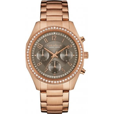 Caravelle New York 44L195 Ladies Melissa Rose Gold Chronograph Watch