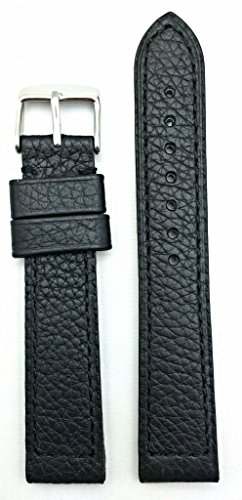 22Mm Long, Panerai Style, Thick And Flat Padded, Black Shrunken Grained Leather Watch Band