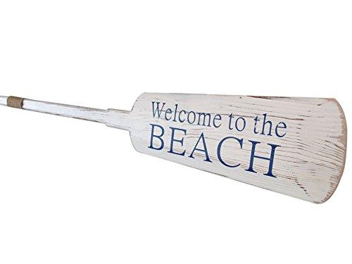 "Wooden Rustic Welcome to the Beach Decorative Row Boat Oar with Hooks 62"" - Oar"