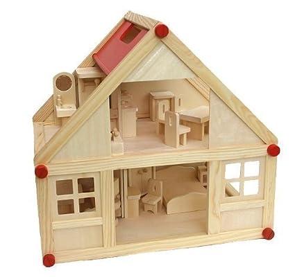 Freda - Maison de poupées en bois + Meubles pour maison de poupées 28 pièces + Famille de poupées + Housses