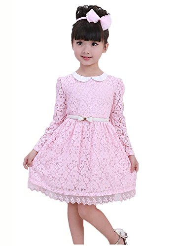 EGELEXY Toddler Girls Princess Full Dress Fairy Party Flower Hollow Lace Skirt 2-7y