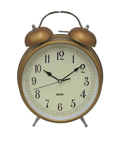 Three Hands Metal Alarm Clock, Antique Gold