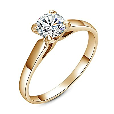 Yoursfs Classic Four-prong Fashion 18k Gold Plated Band with 1ct Simulated Diamond Engagement Rings