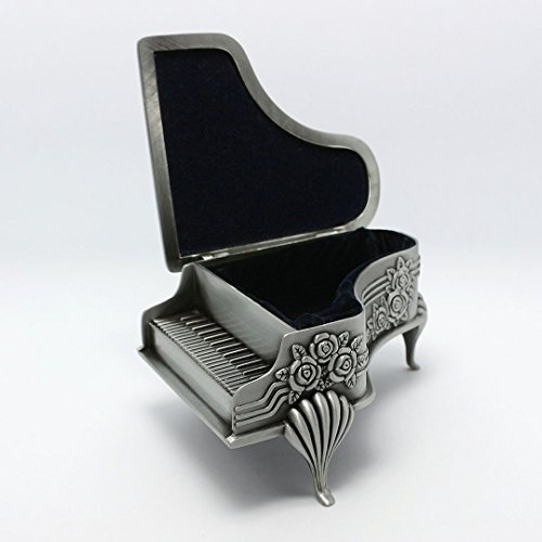 Naimo New Vintage Piano Design Jewelry Box Decorated with Rose Sculpture Creative Gift Present (Large piano)