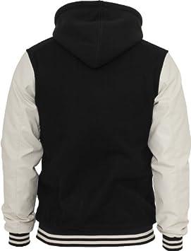 44433ec748e83e ... Urban Classics TB438 Hooded Old School College Jacket Giacca Cappuccio  Uomo Slim Fit: Sport e tempo libero . Autentico Brand, immagini realistiche.