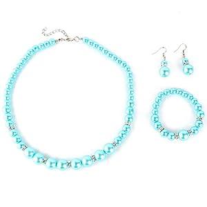 Yesurprise Schmuckset Perlen Armband Ohring Pearl Ball Beads Necklace Bracelet Earrings SET Geschenk Gift 008