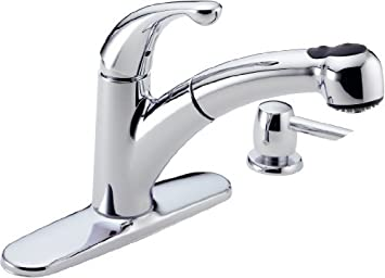 Delta 467-SD-DST Palo Single Handle Pull-Out Kitchen Faucet with Soap Dispenser, Chrome by Delta Faucet