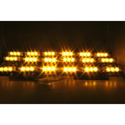 Mictuning 54 X Ultra Bright Amber Led Emergency Warning Use Flashing Strobe Lights Bar For Windshield Dash Grille