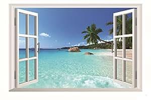 壁が窓に早変わり! 賃貸部屋OK! 南国 ビーチ ウォールステッカー ウォールペーパー シール 模様替え 剥がせる ヨーロッパ 風景 景色 海 お洒落 で 可愛い 大きい サイズ