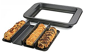 4-Cavity Tart, Pie, Bread, Bun, Roll Non-Stick Baking Pan, Divided Nonstick Mini Loaf Cake Bakeware Tin, with Removable Bottom for Easy Release
