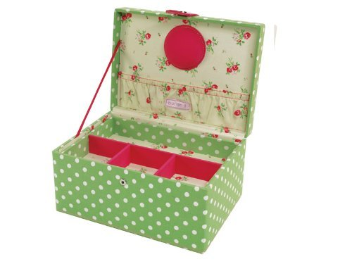 Button It | Country Floral | medium green polka dot sewing box with cream floral lining