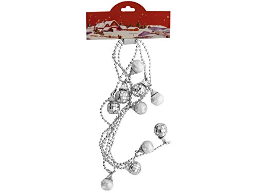 Silver Christmas Mirror Ball Beaded Garland - 46 Pack front-1076287