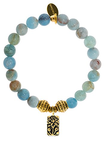 Natural Semi Precious Aquamarine Beryl Gemstone Tibetan Bead Lotus Charm Stretch Bracelet