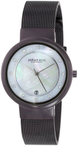 New Johan Eric Women's Arhus Mother of Pearl Crystal Date Wristwatch