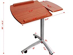 Adjustable Angle Height Rolling Laptop Desk Cart Bed Hospital Table with Split-top