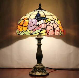 butterfly painting stained glass table lamp bedside lamp desk lamp. Black Bedroom Furniture Sets. Home Design Ideas
