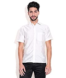 Vivyaan Ivory color Solid Pattern Men's party wear shirts