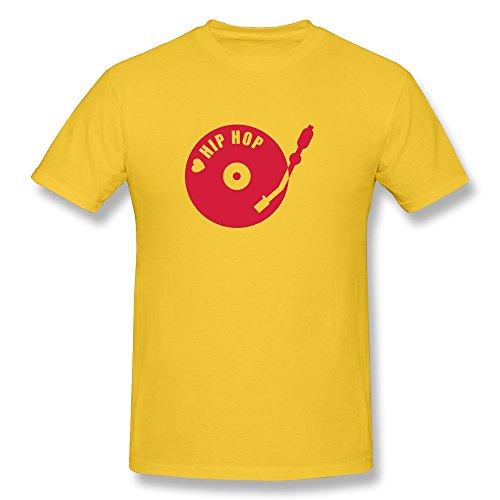 Hlhmarket Men'S Dj Hip Hop Cotton Round Collar T Shirt Xxl Yellow
