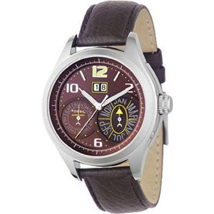 Fossil Gents Brown Leather Strap Watch - Me1031