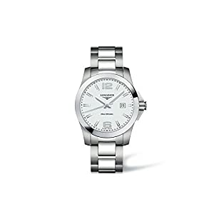 Longines Conquest Men's Quartz Watch with Silver Dial Analogue Display and Silver Stainless Steel Bracelet L36594766
