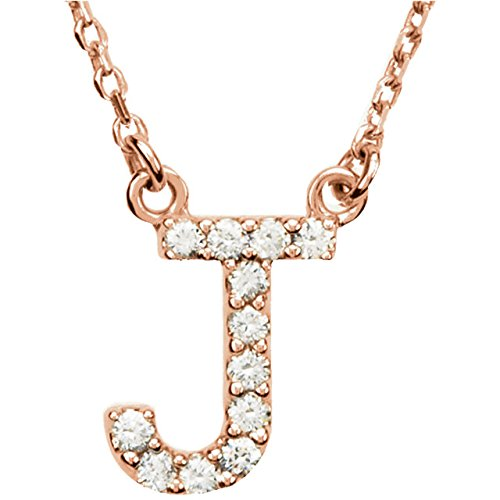 "14K Rose Gold Letter ""J"" 1/8 Ctw Diamond 16 Inch Necklace"