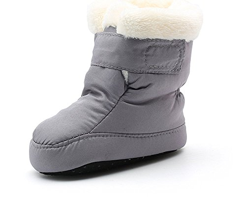 Newborn Baby Boys and Girls Waterproof Winter Warm Snow Boots (13cm(6-12months), Gray)