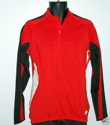 Men's Crane Bike TopCool Long Sleeved Cycling Shirt Jersey (Large, Red)