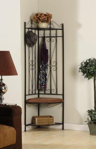 Kings Brand Black Metal Corner Entryway Hallway Rack With Bench & 6 Hooks (Corner Coat Rack compare prices)