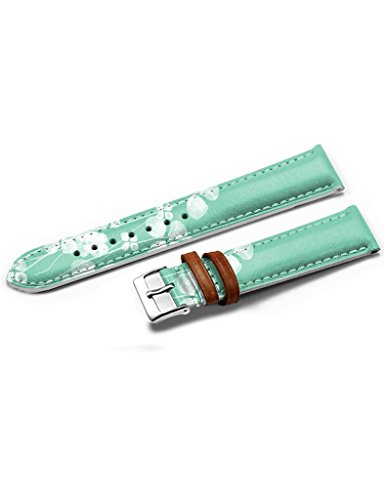 icreat-women-genuine-leather-replacement-watch-strap-band-14mm-simple-doux-vert