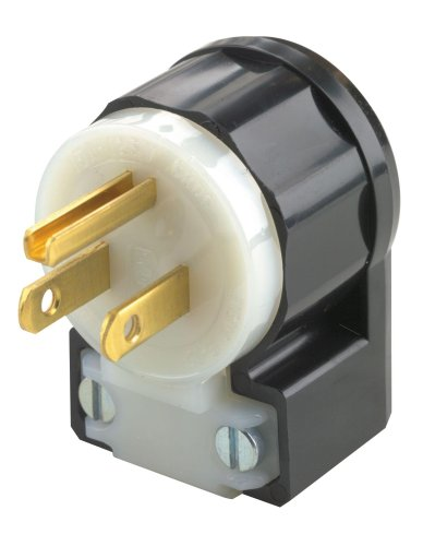 Leviton 5266-CA 15 Amp, 125 Volt, Angle Plug, Straight Blade, Industrial Grade, Grounding, Black-White