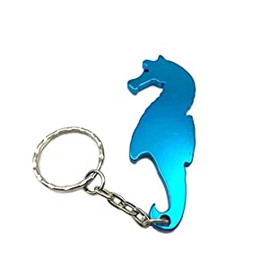 sea horse aluminum alloy beer bottle opener keychain key tag chain ring 1 piece. Black Bedroom Furniture Sets. Home Design Ideas