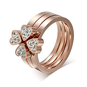Women's Stainless Steel Love Heart Four-Leaf Lucky Clover CZ Cubic Zirconia Ring,Rose Gold,Size 6