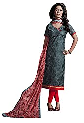 Ethnic For You Chanderi Unstitched Salwar Suit Dress Materials(Grey)