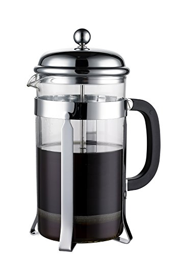Coastline French Press & Espresso Maker | Makes 8 Cups (4 Mugs) | Coffee Press Heat-resistant Borosilicate Glass with Double Screen System Filters Coffee Thoroughly - No Grounds | Stainless Steel (One Person French Press compare prices)