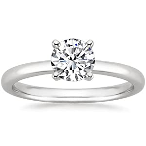 Platinum Solitaire Diamond Engagement Ring Round Brilliant Cut ( J Color VS1 Clarity 3.01 ctw) - Size 3