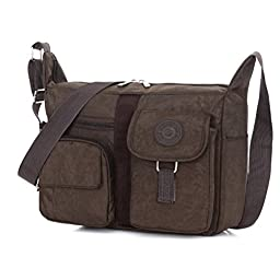 Women\'s Shoulder Bags Casual Handbag Travel Bag Messenger Cross Body Nylon Bags Brown
