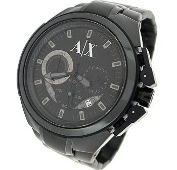 Armani Exchange Men's AX1116 Black Stainless-Steel Quartz Watch with Black Dial