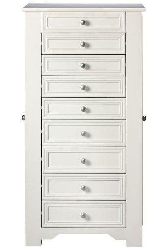 Oxford Jewelry Armoire, 8-DRAWER, WHITE