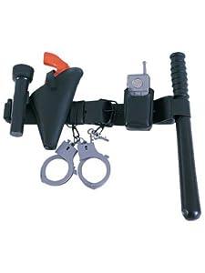 Police Officer's Belt with Baton, Phone, Handcuff, Keys, Gun and Flashlight, size: Children