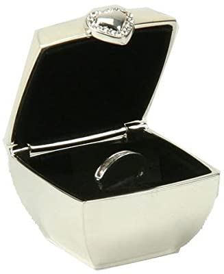 Silver Plated Wedding Ring Box - Ivory