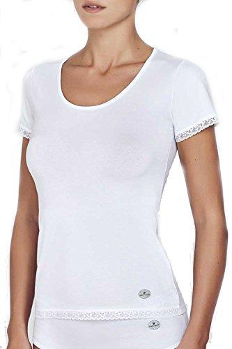 Pierre Cardin / T-shirt donna MM g.c. con balza / Varianti colore: B.co - Nero - Grigio Mel. / Composizione: 90% Cotone - 10% Ea