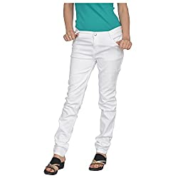Fashion205 Women's Denim Skinny Jeans(Denim-White-Jeans-34_White_34)