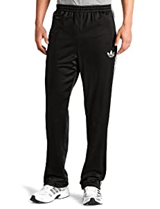 adidas Men's adi Firebird Track Pant (Black, White, X-Large)