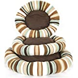 Indian Handicrafts Sponge Round Pet Bed, Small/Medium/Large, Striped Green/Brown, Set Of 3