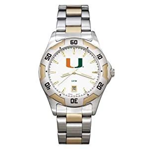 NCAA Miami Hurricanes Mens All-Pro Two-Tone Watch by Logo Art