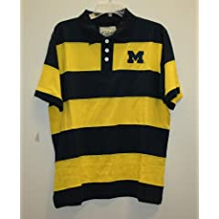 University of Michigan Wolverines Stripe Polo Short Sleeve Shirt by Colony