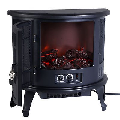 Free Standing Electric 1500W Fireplace Heater Fire Flame Stove Wood Adjustable (Gas Fireplace Glass Gasket compare prices)